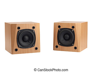 Speakers - small speakers in wooden box isolated on white