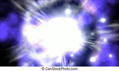 Nebula and supernova explosion in space background.