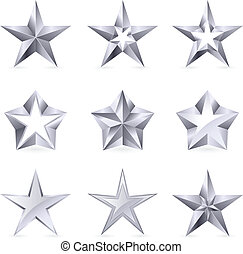 Different types and forms of silver stars. Illustration for...
