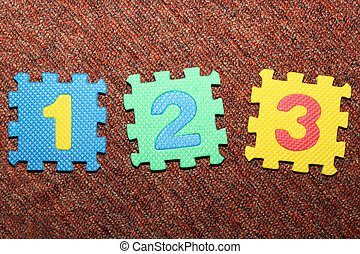 Number 1, 2, 3 on carpet - Number 1, 2 and 3, from letter...