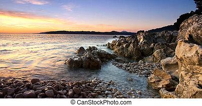 Rocky Adriatic - Panoramic view of the rocky Adriatic coast...