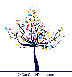 Stylized tree with colored leaves