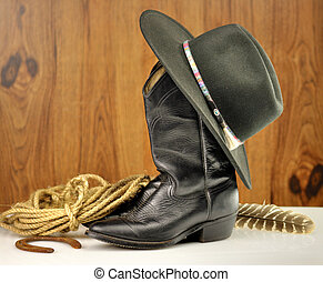 cowboy hat and boots - black cowboy hat and boots
