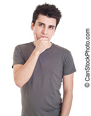 Pensive man - young casual man with a pensive expression...