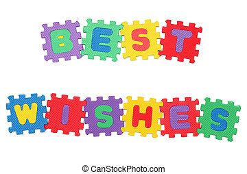 Best Wishes - Message Best Wishes, from letter puzzle,...