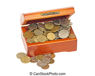 Old wooden chest with coins.
