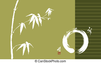 Zen circle and bamboo illustration - Bamboo pastel colors...