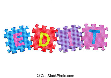 Edit - Word Edit, from letter puzzle, isolated on white...