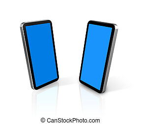 two mobile phones - two three dimensional connected mobile...