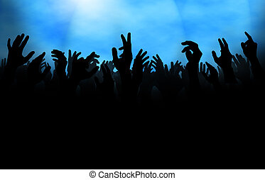Crowd with Raised Hand - Silhouette of a crowd with raised...