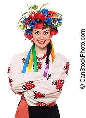 Portrait of young woman in the Ukrainian national clothes....