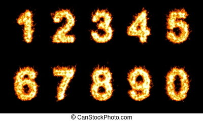 Loopable burning numerals - Loopable burning 0, 1, 2, 3, 4,...