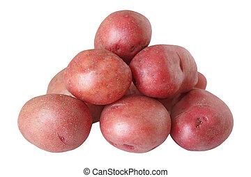 Red Potatoes - Pile of red potatoes isolated on white...