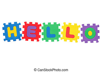 Hello - Word Hello, from letter puzzle, isolated on white...