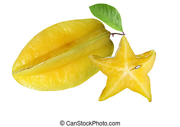 Starfruit - One and a half carambola starfruit isolated on...