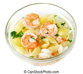 Macaroni Soup - Macaroni with shrimp soup isolated on white