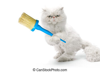 White cat-house painter with brush on white background
