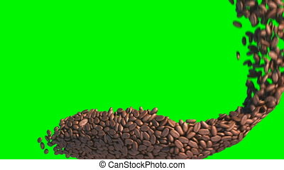 Coffee beans flow with slow motion over green screen