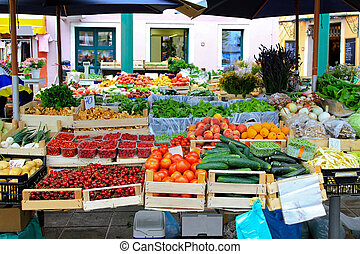 Farmer market - Fresh fruits and vegetables at farmers...