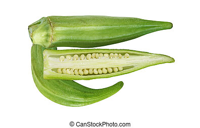 Okra - Fresh okra fruit vegetable isolated on white