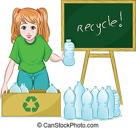 recycle - young girl recycling bottles