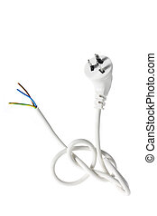 Power Cord on White Background