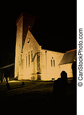 A Church lit up - Exterior of a Church lit up at night