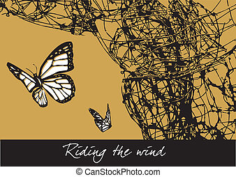 Riding the wind - Butterflies leaving its cocoon. Vector...