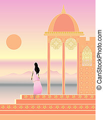 indian landscape - an illustration of a beautiful indian...