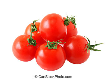 Cherry Tomatoes - Pile of cherry tomatoes isolated on white