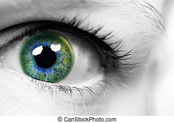 eye of a woman with coloured pupil - close-up eye of a woman...