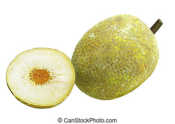 Breadfruit - One and a half breadfruit isolated on white