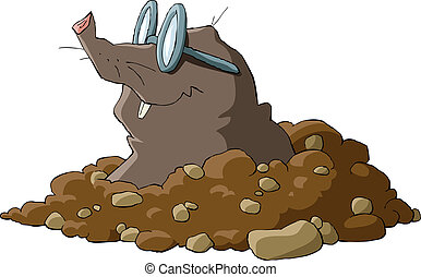 Mole - A mole wearing glasses and a hole, vector