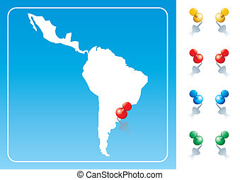 Latin America map illustration with pushpin Vector image...