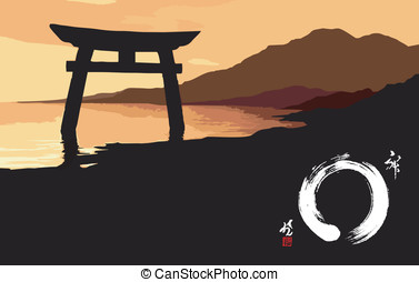 Zen landscape at sunset illustration. Vector file available.