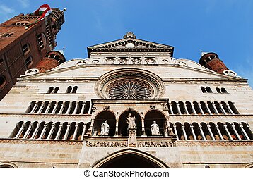 Cathedral, Cremona - Cathedral facade and famous tower bell...
