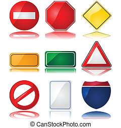 Traffic signs - Set of glossy illustrations with different...