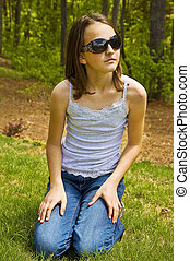 Preteen Girl Outside with Sunglasse
