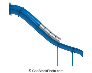 Blue waterslide isolated on white background