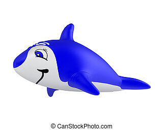 Inflatable dolphin isolated on white background