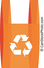 Recycling symbool in a red shopping bag - illustration of...