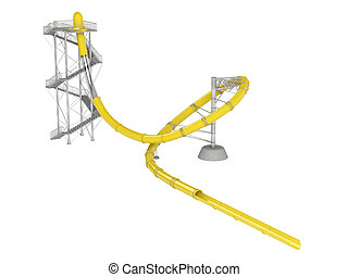 Yellow waterslide with stair isolated on white background