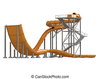 Orange waterslide with stair isolated on white background