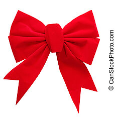 Red velvet Bow - Single red velvet bow isolated on white