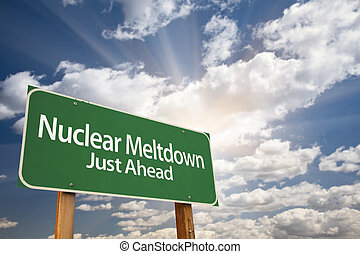 Nuclear Meltdown Green Road Sign and Clouds - Nuclear...