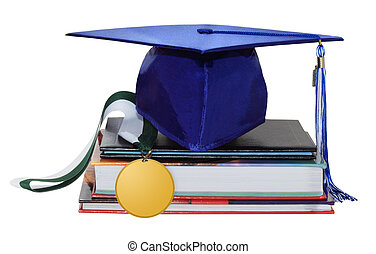 Medal and Cap - Cap graduation with medal, diploma and books