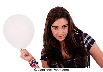 beautiful young woman with a balloon, isolated on white background. Studio shot.