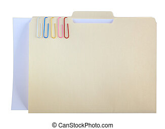 Manila Folder and Color Clips - Manila folder and five...