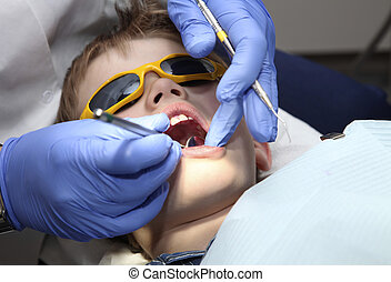 at the dentist - young boy at the dentist