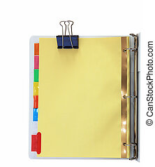 Binder and Metal Clips - Paper divider with colorful tabs on...